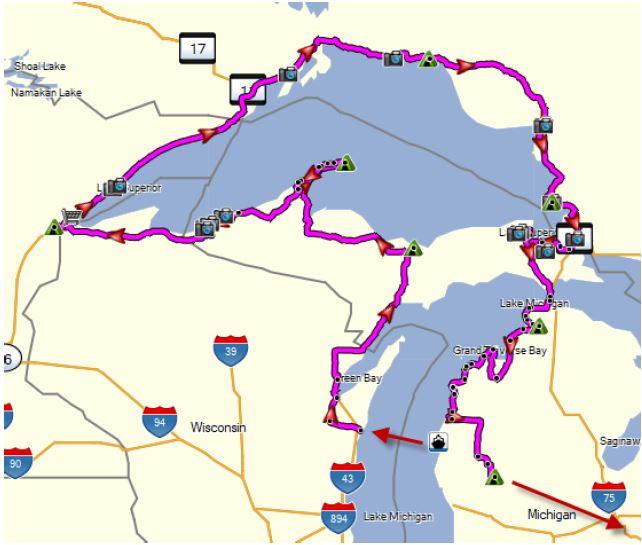 Great Lake Circle Tour BMW Touring Club Of Detroit - Lake michigan circle tour map